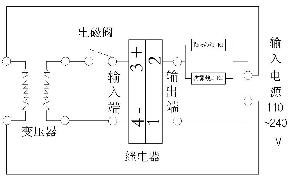 水流控制系统防雾镜请严格按以下示意图和电路图安装及走线:  图1:丽新水流节能系统安装示意图  图2:丽新水流控制节能系统电路图